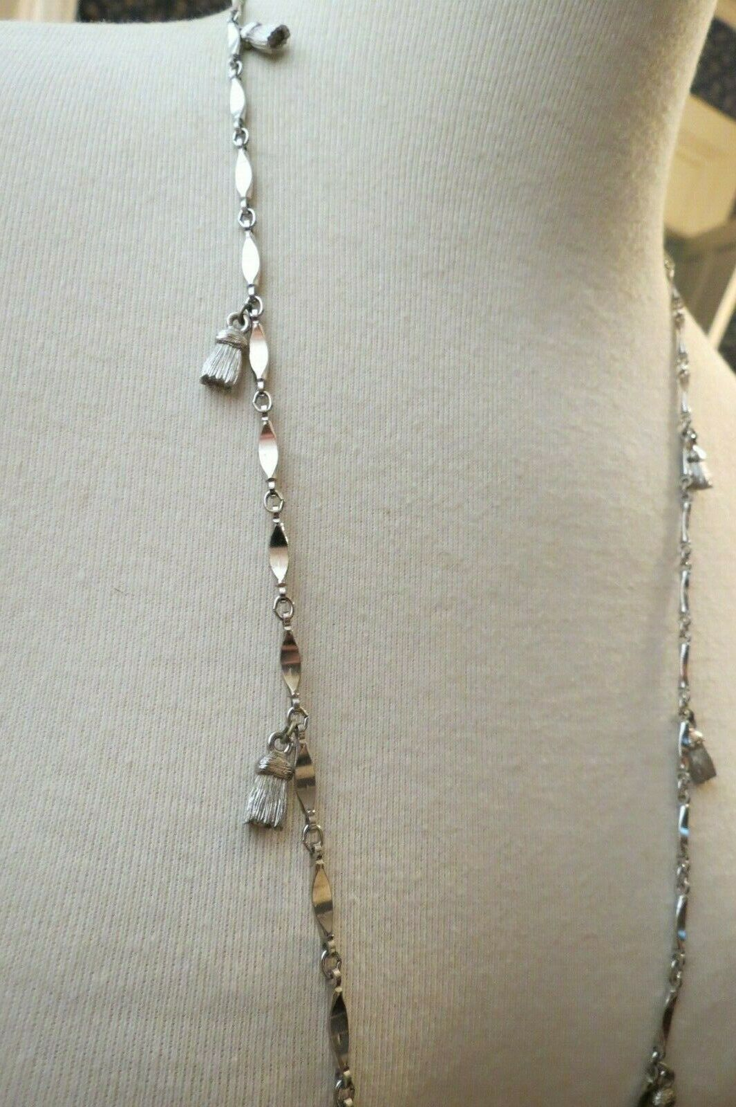 "Monet Necklace Silver Tone Chain 60"" Long Designer Links Tassels Charm Dangles"