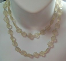 vintage Long Signed MONET floral Plastic lucite necklace W/Pastel Bead Spacers - $32.00