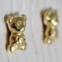 18K YELLOW GOLD EARRINGS MINI BEAR, BEARS POLISHED FOR KIDS CHILD MADE IN ITALY image 2