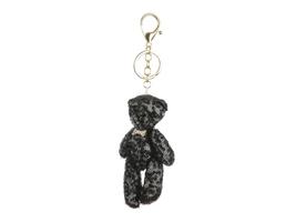 Plush Black Mesh Fabric Sequin Bear Bag Accessory Keychain - $13.95