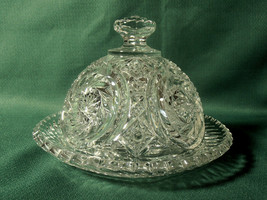 Vintage Beautiful Pin Wheel Crystal Glass Butter Dish with Dome Lid - $39.95