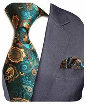 GUSLESON Brand New Paisley Silk Tie and Pocket Square Set Mens Necktie for Weddi image 3