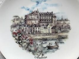 French Regence Style Gilt Edge Limoges Porcelain Plate Dish Château d'Amboise - $148.63