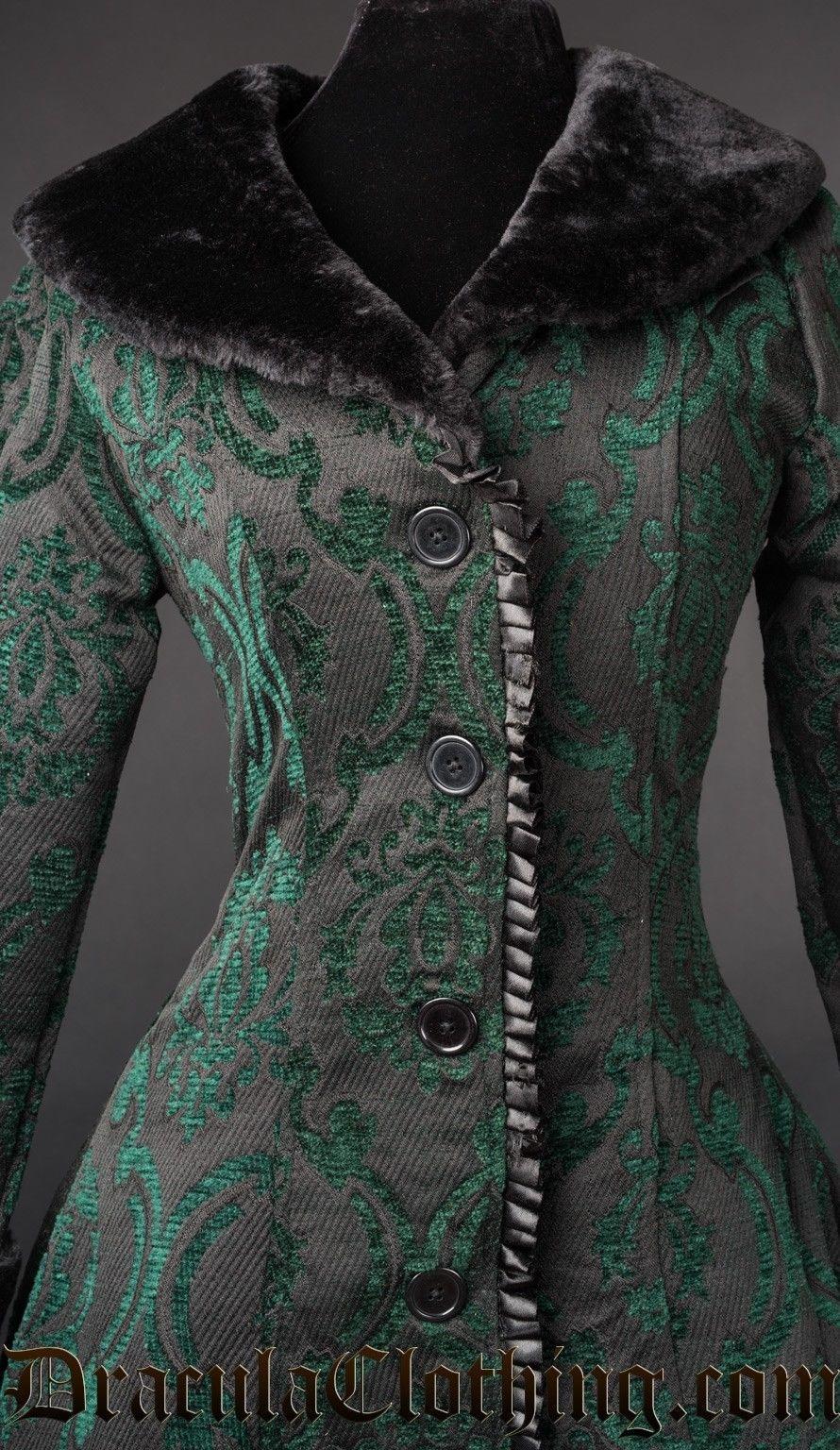 Women's Green Brocade Gothic Victorian Winter Long Corset-Back Steampunk Coat