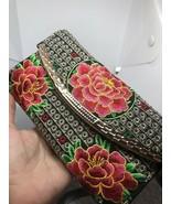 Vintage Embroidered Flower Pink Black Evening Bag Clutch Handbag Purse - $51.07