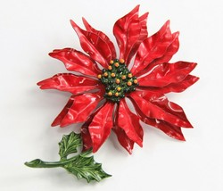 ESTATE VINTAGE Jewelry HUGE FLOWER POWER RED ENAMEL POINSETTIA FIGURAL B... - $35.00