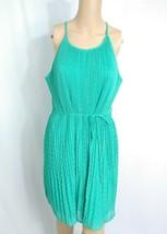 NWT ELLE Accordion Pleat Belted Sundress L Turquoise Green Chevron Jacquard Boho - $9.50