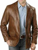 New Men's Genuine soft Lambskin Leather Blazer TAN Slim fit Coat Leather... - $114.37