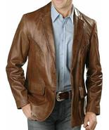 New Men's Genuine soft Lambskin Leather Blazer TAN Slim fit Coat Leather... - £76.80 GBP