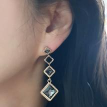 SE50 Women Diamond Shape Drop Earrings Made with Swarovski Crystal  Silver 925 image 2