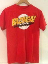 Bazinga The Big Bang Theory T Shirt Mens S Sheldon Red Cotton Ripple Jun... - $14.95