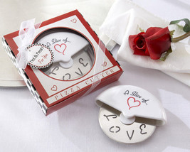 96 Slice of Love Stainless Steel Pizza Cutter Bridal Wedding Favors in G... - $195.17