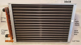 """16x18 Water to Air Heat Exchanger~~1"""" Copper Ports - $115.01"""