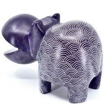 Vaneal Group Hand Carved Soapstone Large Heavy Purple Hippopotamus Hippo Bookend image 3