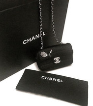 Authentic Chanel Black Quilted Satin Mini Flap Bag Crossbody 3700$ - $1,750.00