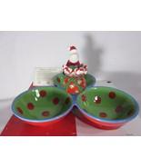 2007 Fitz & Floyd Gourmet Kringle Christmas 3 Section Server w Toothpick... - $29.69