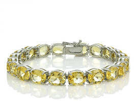 Ice Gems Sterling Silver Citrine 9x7mm Oval Tennis Bracelet - $344.74