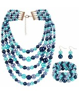 LuckyHouse Faux Pearl Strands Jewelry Sets for Women Mix Blue Tone Inclu... - $17.35