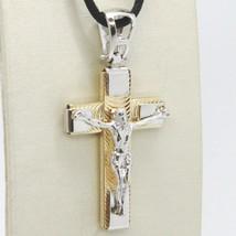 Pendentif Croix or Jaune Blanc 750 18K, avec Christ, Finement Travaillé image 1