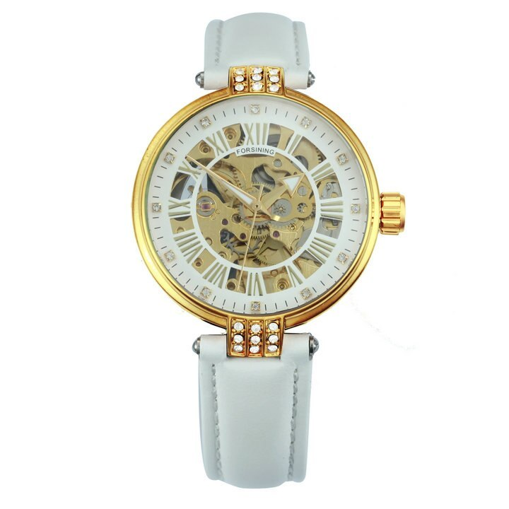 FORSINING Vintage Elegant Women Watch Automatic Mechanical Red Leather Strap Gol image 3