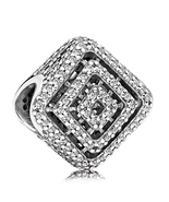 925 Sterling Silver Geometric Lines Clear Cz Charm Bead For Bracelet QJC... - $21.66