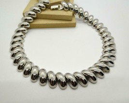 Vintage Napier Silver Plated Shrimp Link Mod Chic Choker Necklace I6 - $31.99