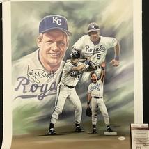 Autographed/Signed GEORGE BRETT Kansas City Royals 16x20 Canvas Photo JS... - $199.99
