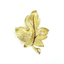 Vintage BSK Signed Goldtone Leaf Figural Veined Pin Brooch Textured - $14.54