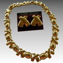 Vintage Iconic Anne Klein XO Signature Necklace &  Earring Set - $27.55
