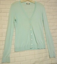 J. Crew Size S Pale Teal Cotton Button  Front Long Sleeve Cardigan Sweater - $12.53