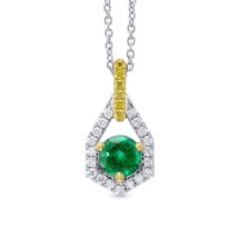 0.69Cts Emerald Side Diamonds Halo Pendant Necklace Set in 18K White Yel... - $4,405.50