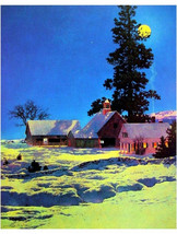 "Moonlight Night, Winter, Maxfield Parrish, Landscape 11x14"" Cotton Canva... - $23.99"