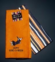 Set of 2 Dachshund Halloween Witch & Stripes Ritz Kitchen / Tea Towels - $15.00