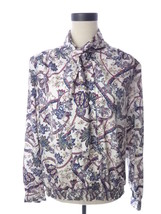 Pykettes Purple & White Paisley Print Blouse Vintage NWT 14 L - $18.00