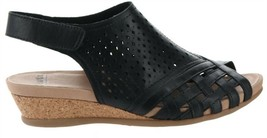 Earth Leather Perforated Wedge Sandals- Pisa Galli Black 11W NEW A346894 - $70.27