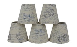 Urbanest Set of 5 Natural with Blue Script Pure Linen Chandelier Lamp Shade, 3-i - $32.66