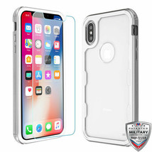 For APPLE iPhone XS/X Metallic Silver/Clear TUFF Lucid Plus Hybrid Case ... - $12.23
