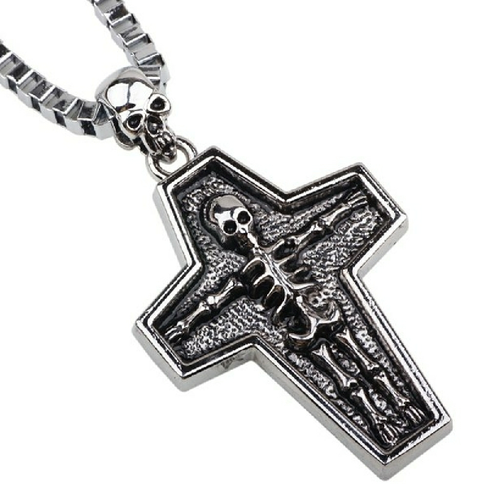 Vintage skeleton cross box chain necklace silver a