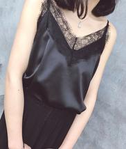 Black Sleeveless Chiffon Lace Top Summer Chiffon Tank Bridesmaid Lace Top Blouse image 2