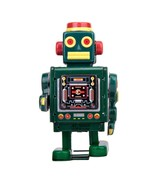 """MARCHING GREEN ROBOT 4"""" Wind Up Tin Toy Collectible Retro Outer Space Ag... - $16.88"""