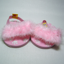 Build A Bear Pink Feather Slippers with Ankle Straps & Foam Soles BABW - $4.50