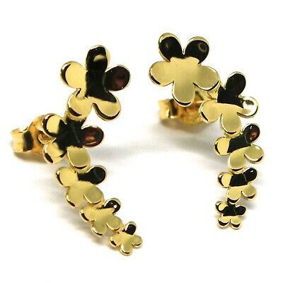 Drop Earrings Yellow Gold 18K, Row of Flowers, Daisies, Gold 750, Curve