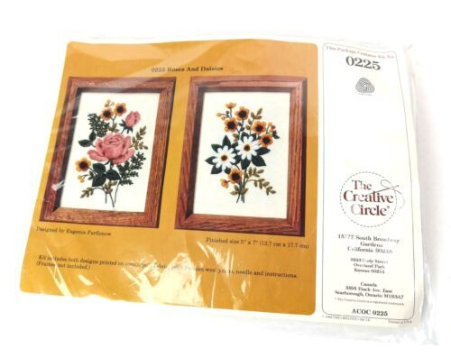 Primary image for Creative Circle Rose Daisies Needlepoint Kit Wool Vintage1983 Complete Sealed