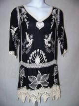 Style Women's Dress Size 8 Medium Boho V-Neck Crotched 3/4 Sleeves - $24.98