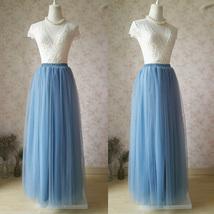 DUSTY BLUE Tulle Maxi Skirt High Waist Bridesmaid Tulle Skirt Blue Wedding Skirt image 3