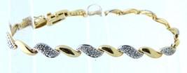 "VTG DBJ .925 Gold Vermeil Dual Tone Diamond Tennis Bracelet 7"" - $74.25"