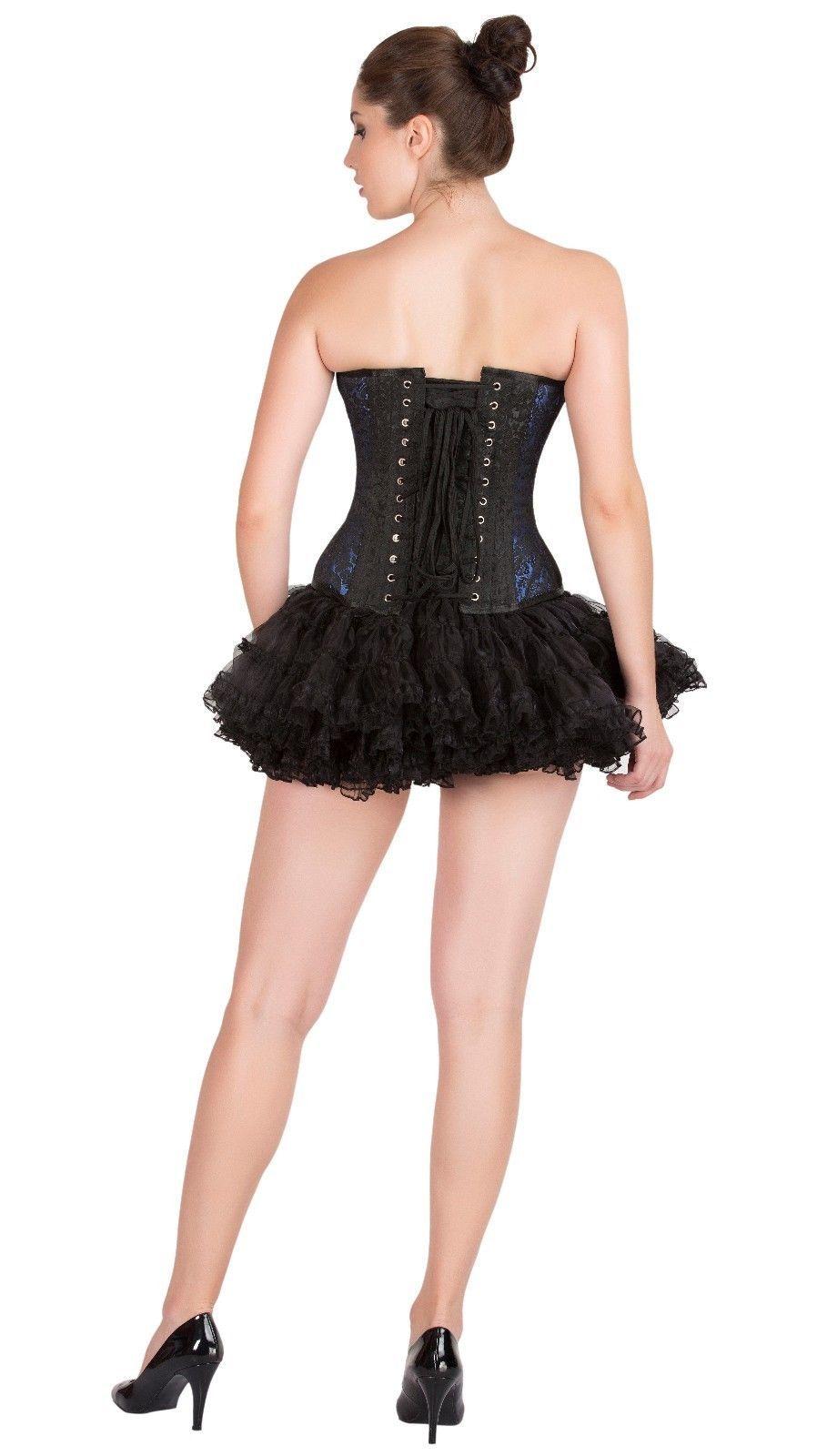 362cd1d988f Blue Black Brocade Burlesque Gothic Bustier Overbust Tutu Skirt Corset Dress