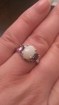 STERLING SILVER  1.4CT OPAL AND AMETHYST RING - SIZE 7 - $104.29