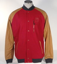 Puma Red & Tan Wool Blend Snap Front Jacket Mens NWT - $149.99