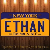 Ethan New York Yellow Name License Plate Aluminum Vanity Tag - $16.82